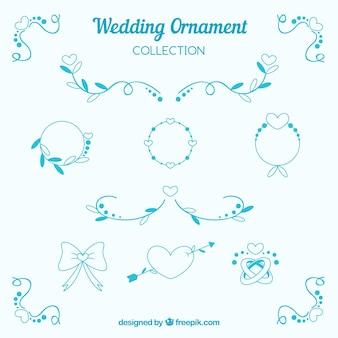Collection d'ornement de mariage plat