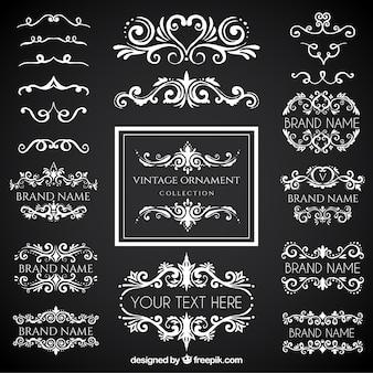 Collection d'ornement vintage avec style tableau noir