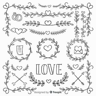Collection d'ornements d'amour dessinés à la main