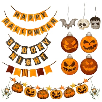 Collection d'ornements aquarelle haloween