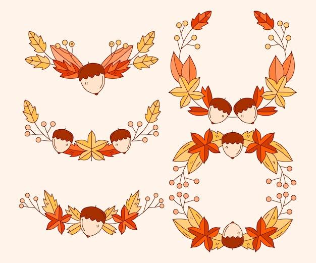Collection d'ornements d'automne dessinés à la main