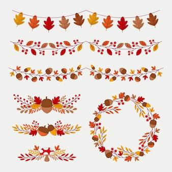 Collection d'ornements d'automne plat