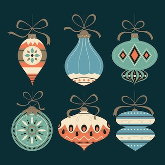 Collection d'ornements de boule de noël design plat