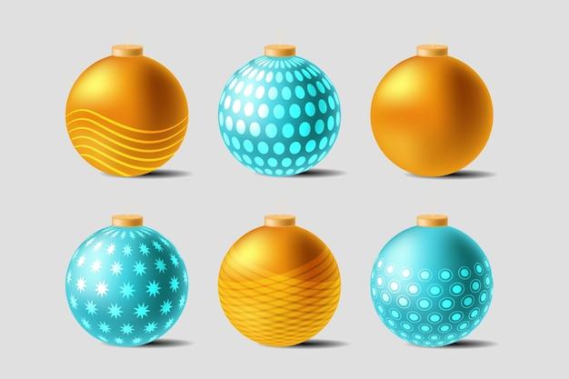 Collection d'ornements de boule de noël réaliste