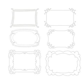 Collection d'ornements de cadre doodle dessinés à la main
