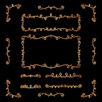Collection d'ornements calligraphiques dorés