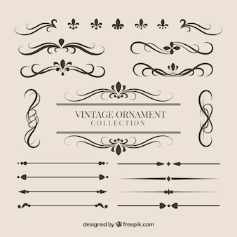 Collection d'ornements dans le style vintage