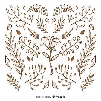 Collection d'ornements floraux dessinés à la main
