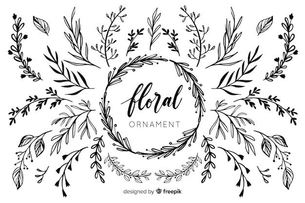 Collection D'ornements Floraux Dessinés à La Main Vecteur Premium