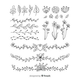 Collection d'ornements floraux détaillés dessinés à la main