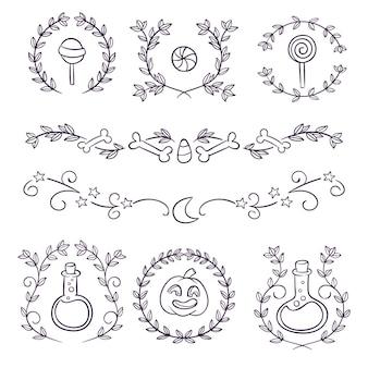 Collection d'ornements haloween dessinés à la main