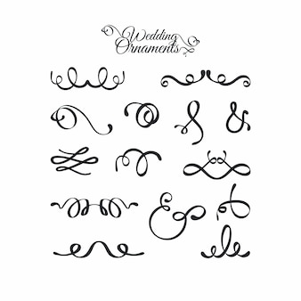 Collection d'ornements de mariage calligraphiques