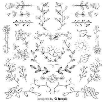 Collection d'ornements de mariage décoratifs dessinés à la main