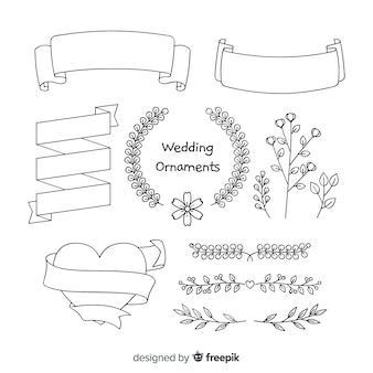 Collection d'ornements de mariage dessinés à la main