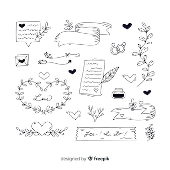 Collection d'ornements de mariage dessinés à la main