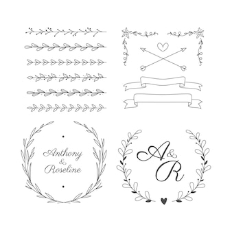 Collection d'ornements de mariage plat linéaire