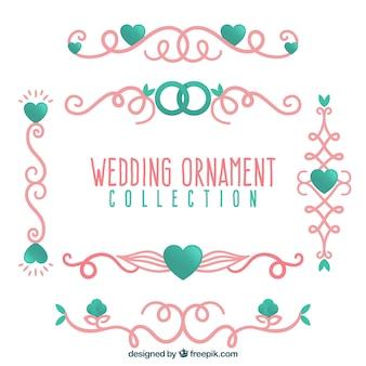 Collection d'ornements de mariage plat