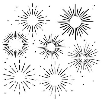 Collection d'ornements sunburst dessinés à la main