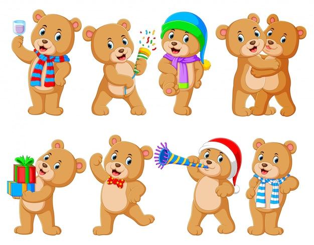 Collection d'ours mignon avec diverses poses