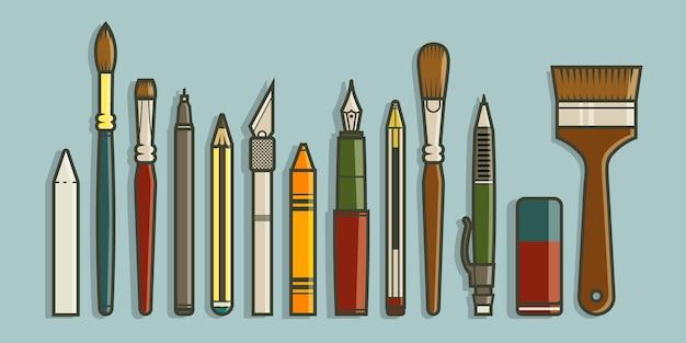 Collection d'outils d'art dans le concept de design plat.