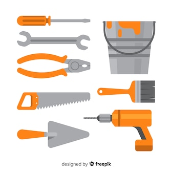 Collection d'outils de construction plate