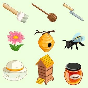 Collection d'outils de la ferme de miel