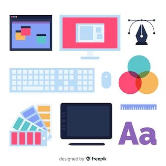 Collection d'outils de graphisme plat