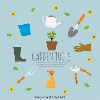Collection d'outils de jardin plat
