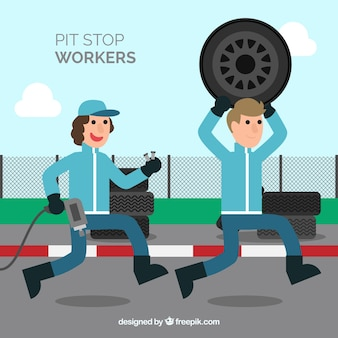 Collection d'ouvriers de pit stop