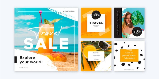 Collection de pack instagram de voyage plat