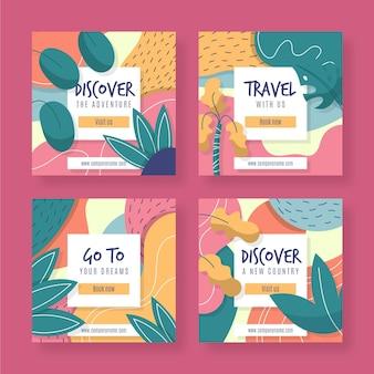 Collection de pack instagram de voyage plat