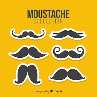 Collection de pack de moustaches movember en design plat