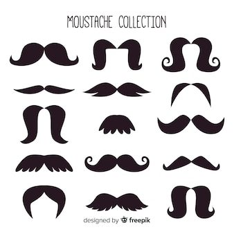 Collection de pack de moustaches movember en design plat