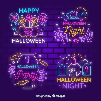 Collection de pancartes lumineuses halloween