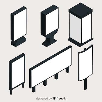 Collection de panneaux d'affichage vierges isométriques