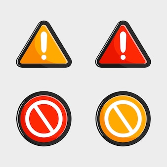 Collection de panneaux d'avertissement et d'arrêt