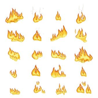 Collection de panneaux de flammes de feu sur fond blanc