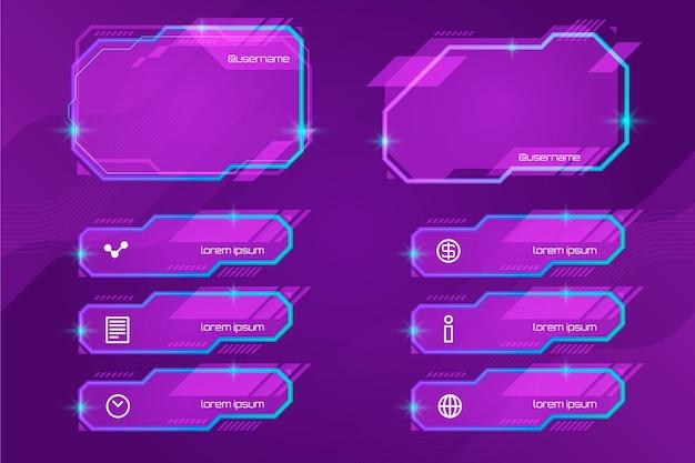 Collection de panneaux de flux twitch