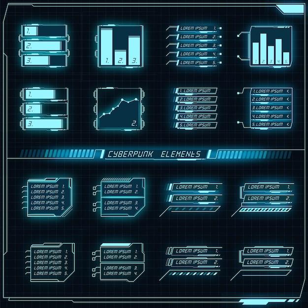 Collection de panneaux futuristes scifi d'éléments hud gui vr ui design cyberpunk néon lueur rétro style