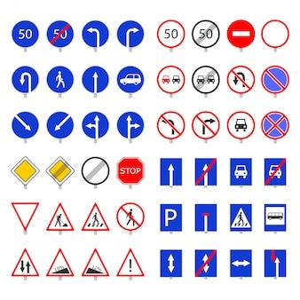 Collection de panneaux de signalisation routière.