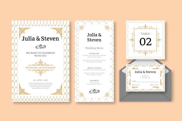 Collection de papeterie anniversaire de mariage