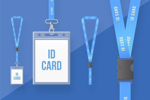 Collection de papeterie de carte d'identité réaliste