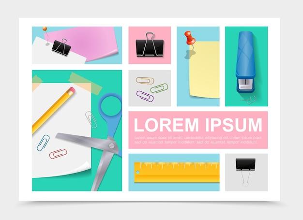 Collection de papeterie colorée avec des ciseaux crayon feuilles de papier autocollants agrafeuse règle reliure clips punaises dans l'illustration de style réaliste,