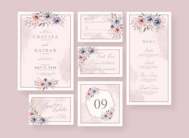 Collection de papeterie de mariage aquarelle florale douce