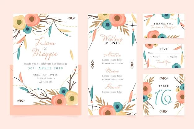 Collection de papeterie de mariage boho dessinée à la main