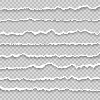 Collection de papier déchiré blanc