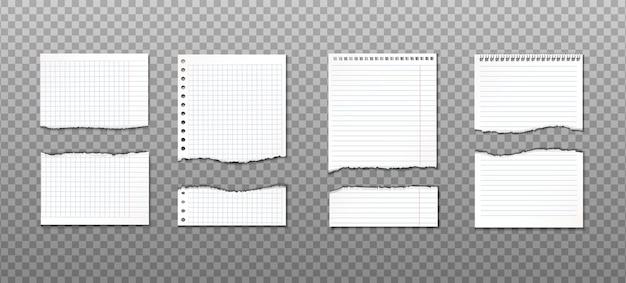 Collection de papier déchiré avec différentes coupes. rappel d'information