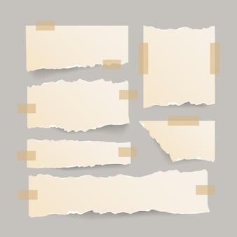 Collection de papier déchiré avec du ruban adhésif
