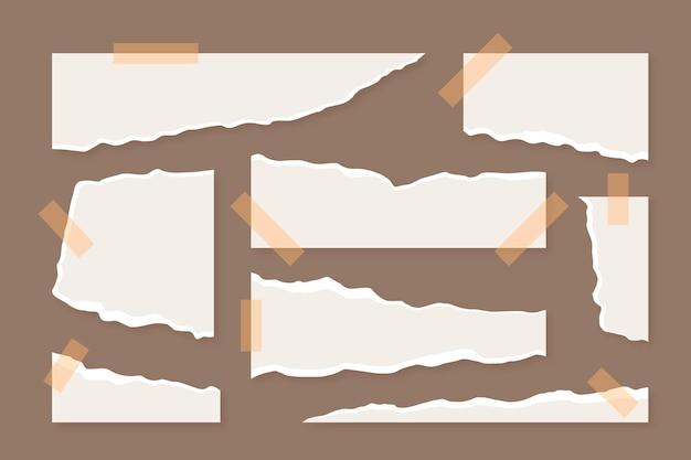 Collection de papier déchiré avec jeu de ruban adhésif