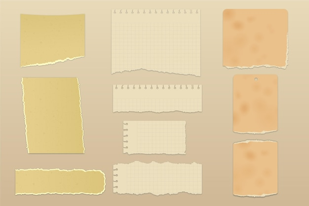 Collection de papier déchiré réaliste